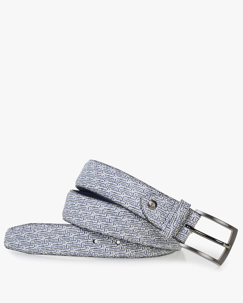 White leather belt with blue print