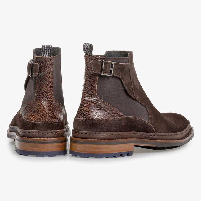 Dark brown suede Chelsea boot