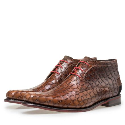 Floris van Bommel men's crocodile print lace boot