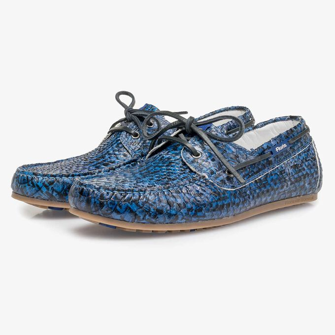 Blue snake print calf leather sailing shoe