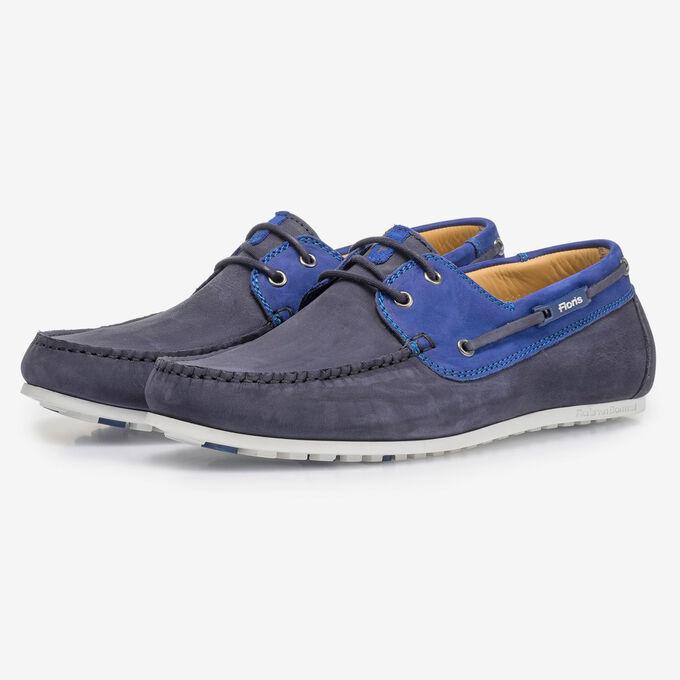 Blauwe nubuckleren bootschoen