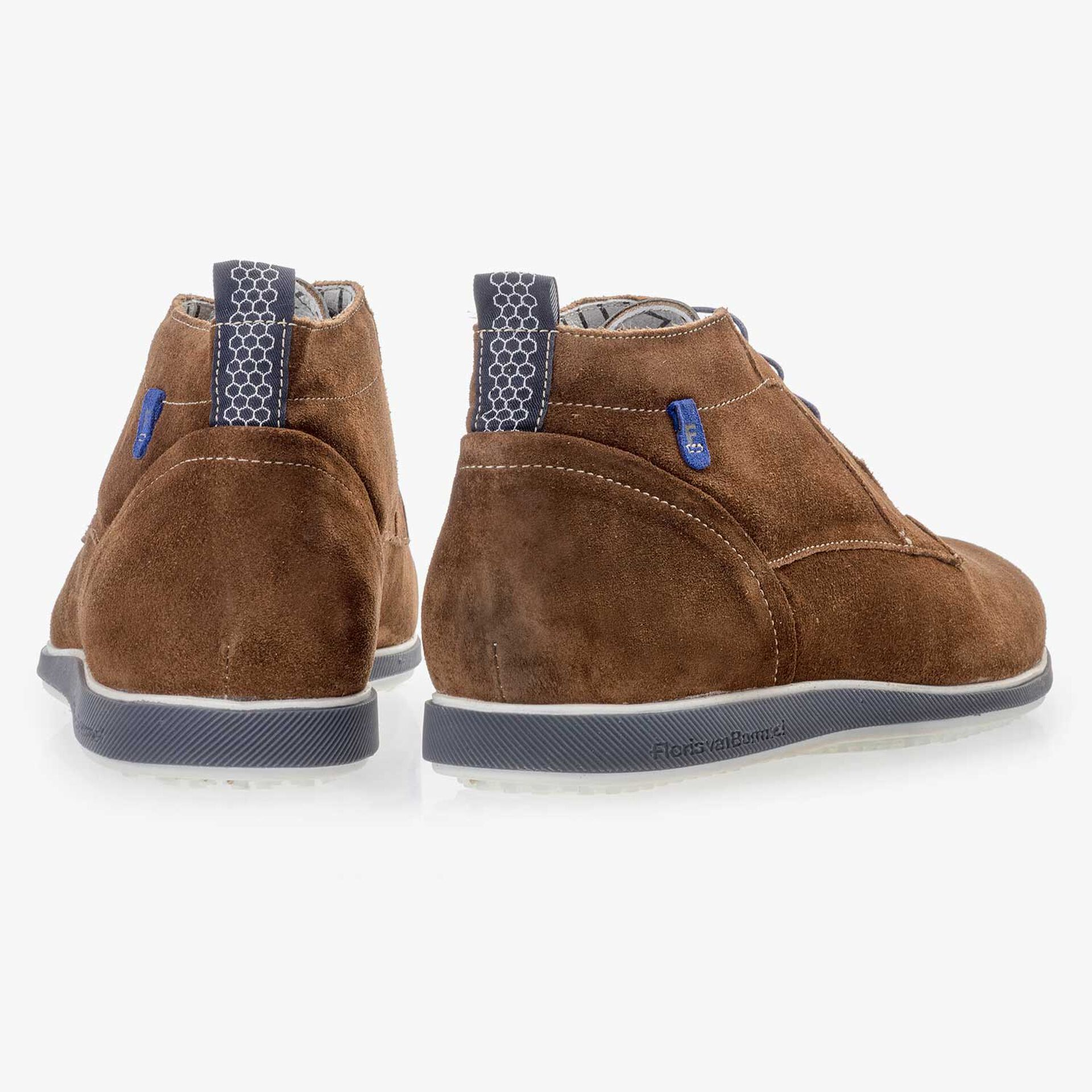 Mid-brown suede leather lace boot