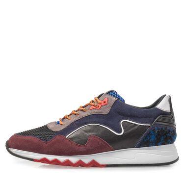 Suede sneaker met runnerzool