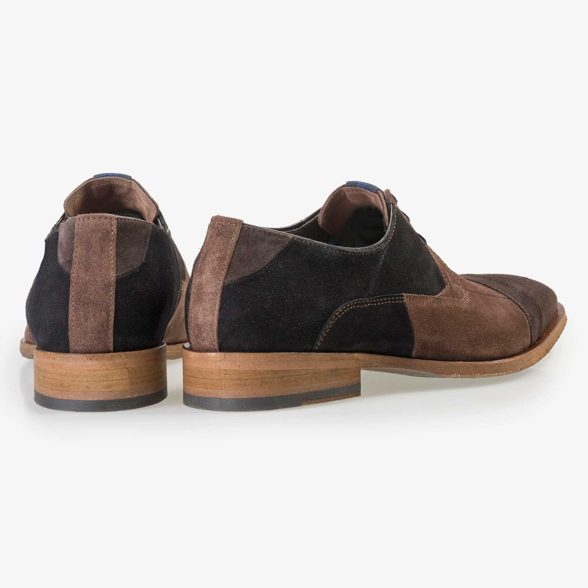 Floris van Bommel brown suede leather patchwork lace shoe