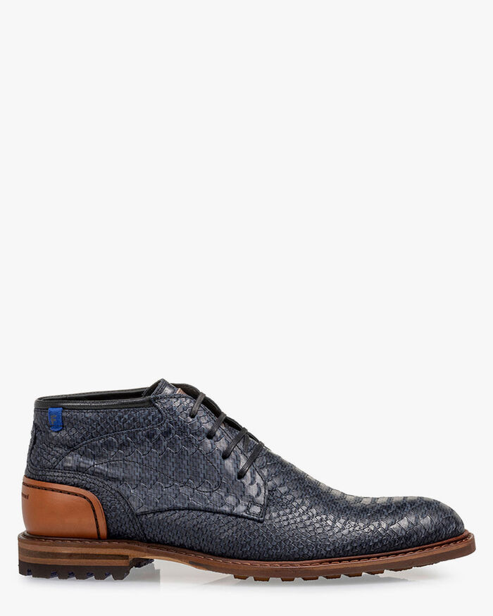 Lace boot nubuck leather blue