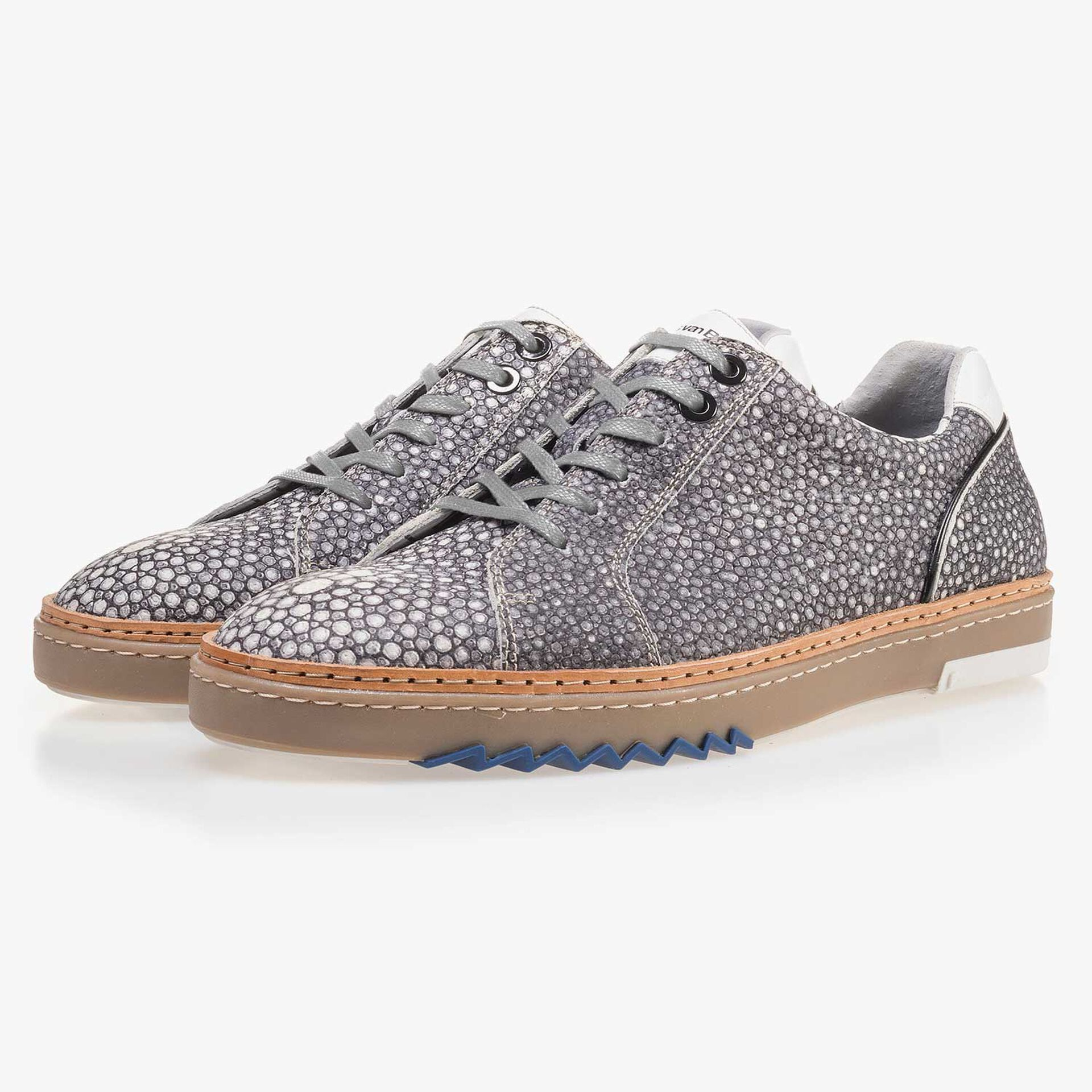 Grey, patterned leather sneaker