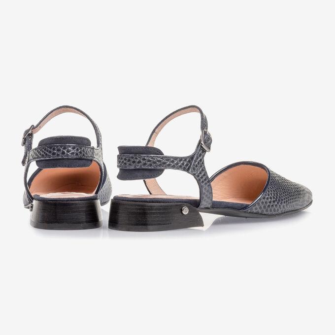 Donkerblauwe leren sandaal met print