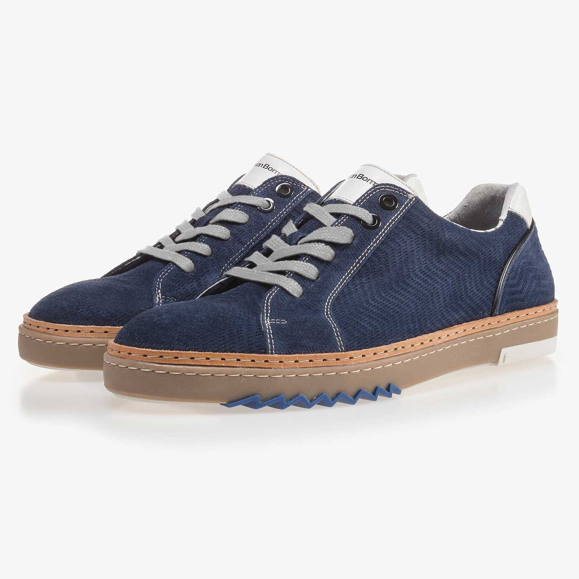 Blue, suede leather sneaker with pattern