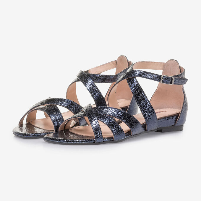 Dark blue sandals with metallic print
