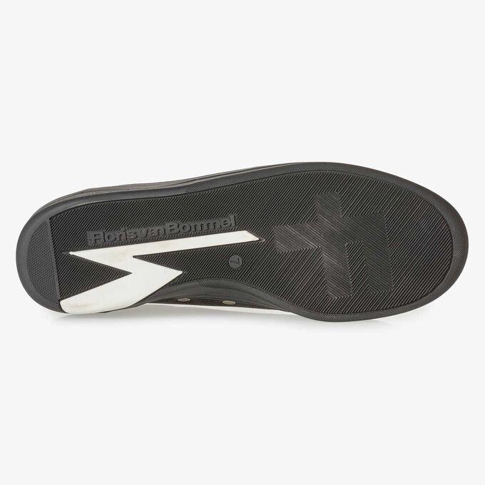 Black printed nubuck leather sneaker