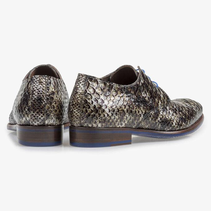 Grey patent leather snake print lace shoe