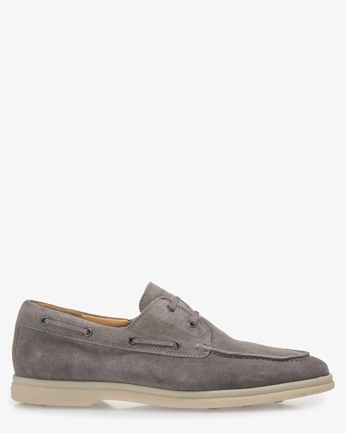 Grey suede leather boat shoe