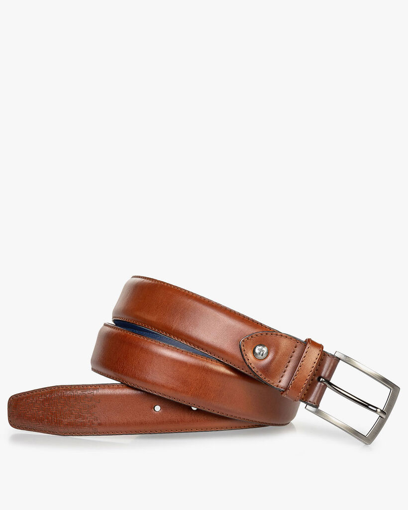 Leather belt cognac with laser-cut print