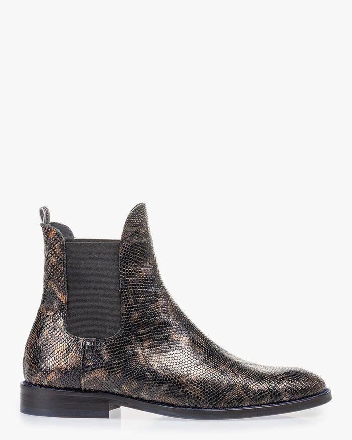 Chelsea boot croco print copper