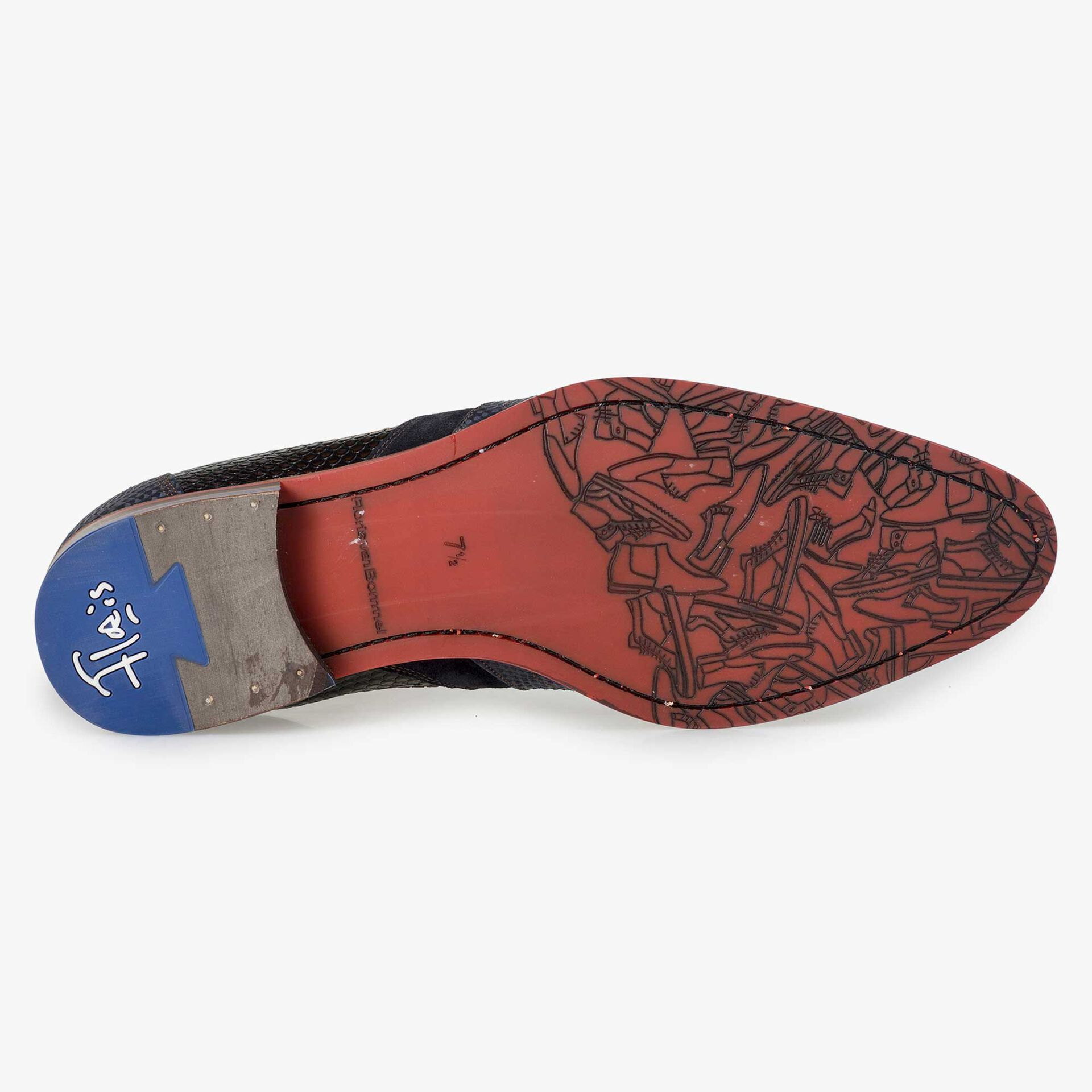 Floris van Bommel men's blue leather Chelsea boot