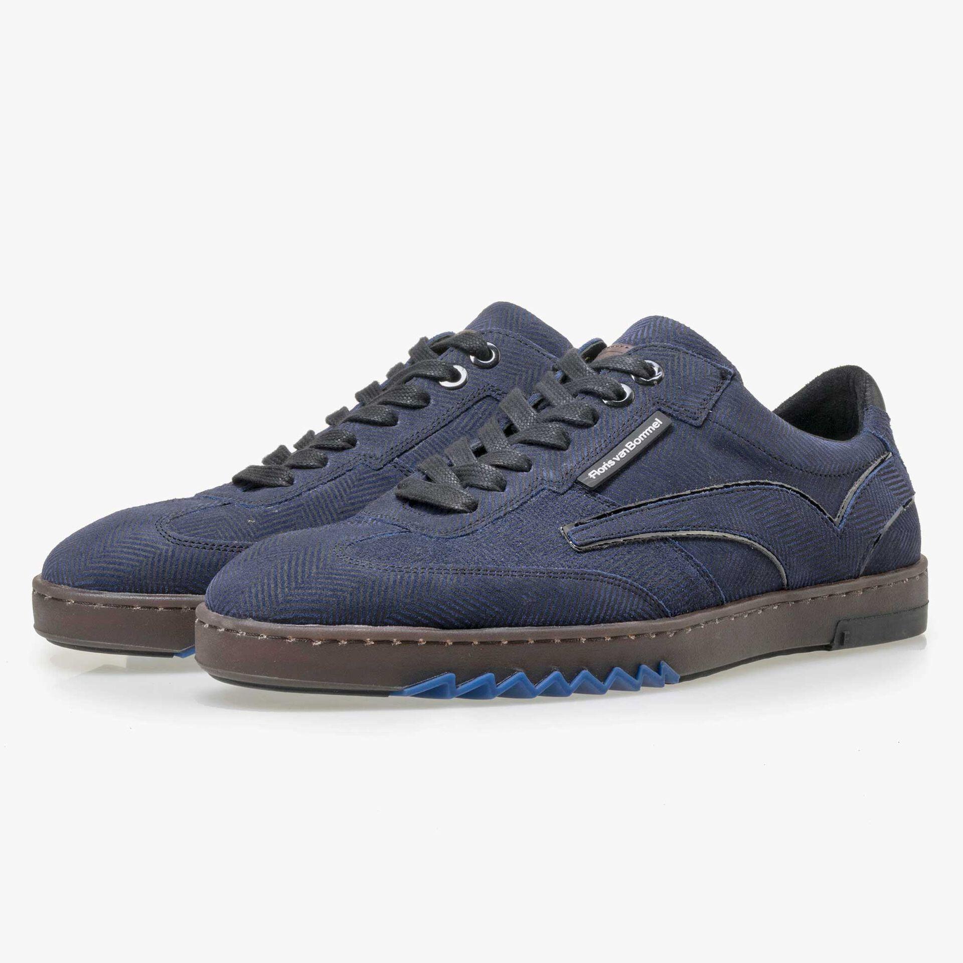 Floris van Bommel blauwe suède heren sneaker met visgraatprint