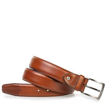 Leather belt with laser-cut print cognac
