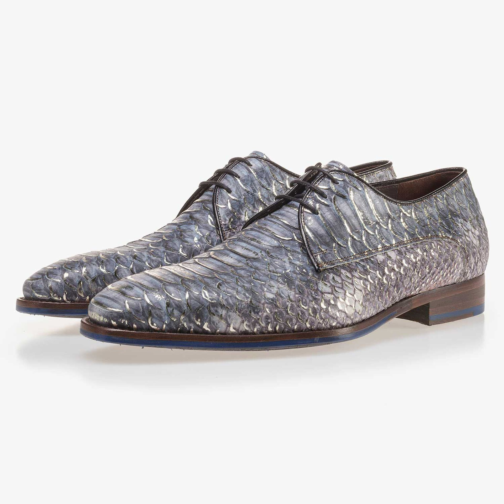 Premium blue leather lace shoe with a snake print