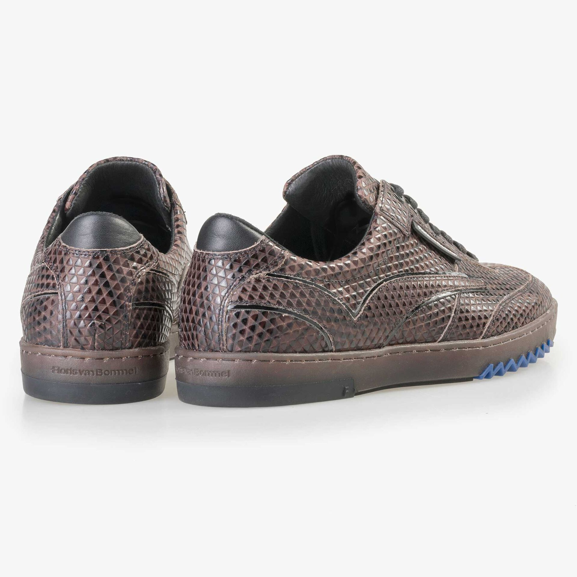 Floris van Bommel men's brown sneaker with a triangular print
