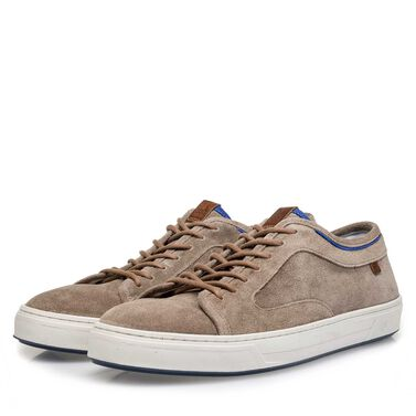 Washed suede leather sneaker