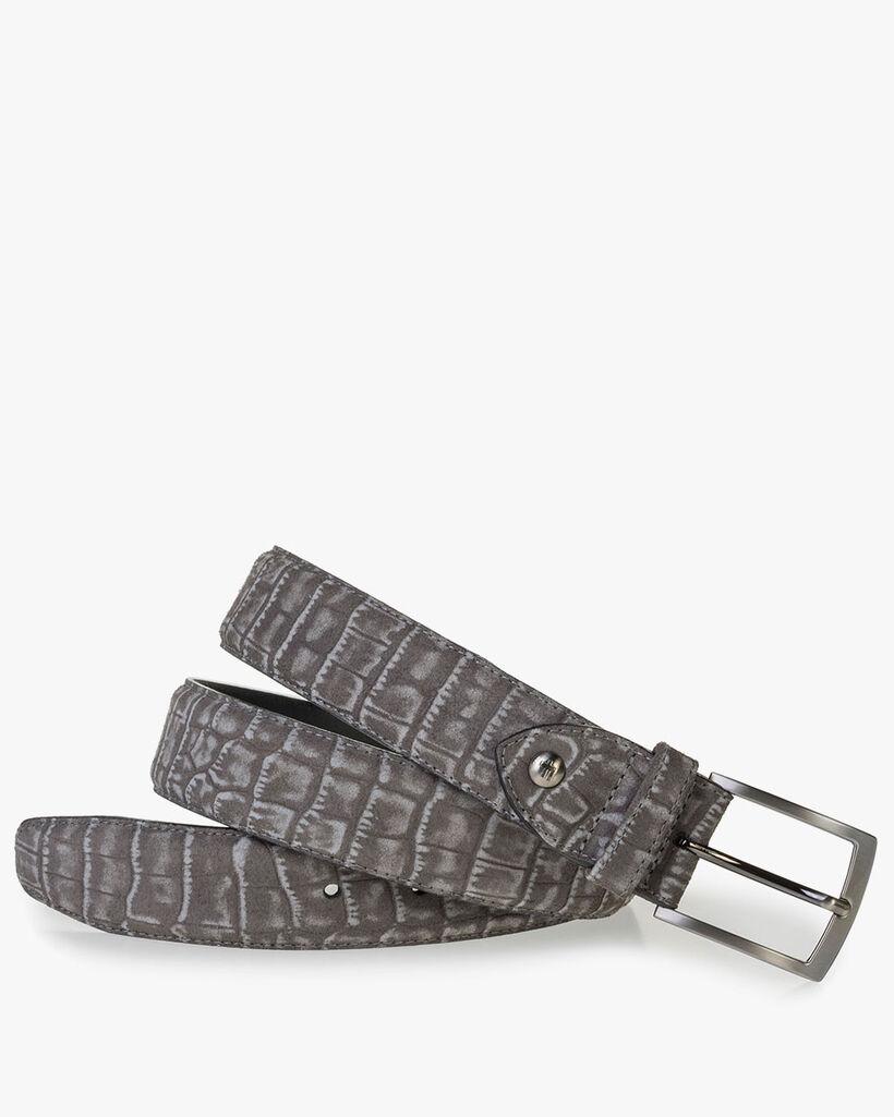 Dark grey suede leather belt with croco print