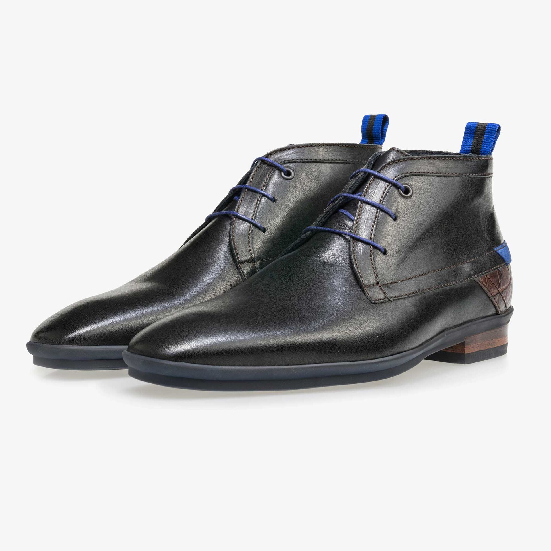 Floris van Bommel black leather men's lace-up boot