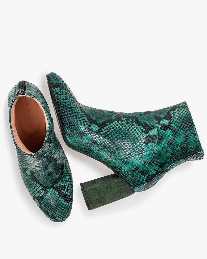Groene leren enkellaars met snakeprint