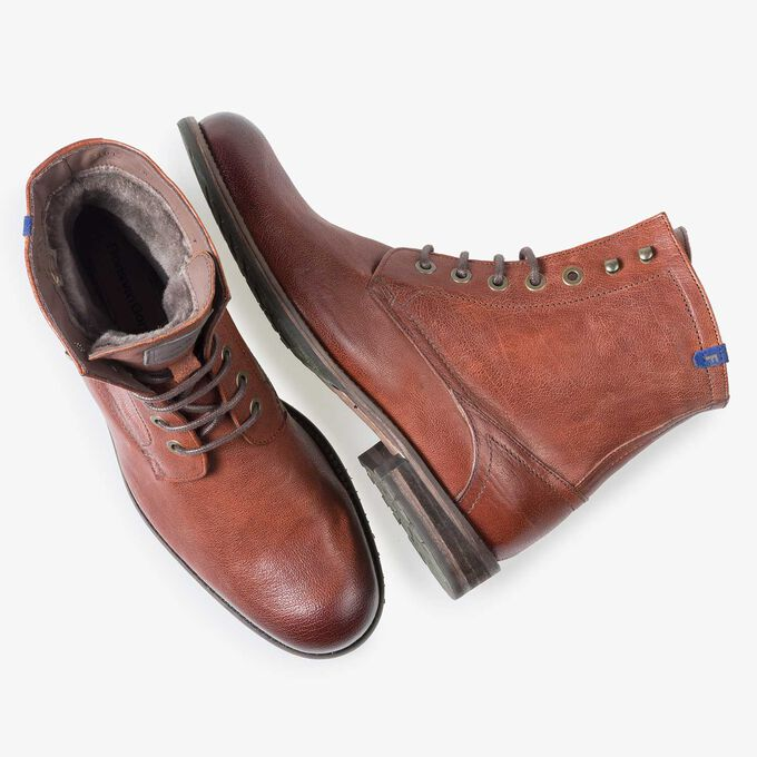 Wool lined cognac-coloured leather lace boot
