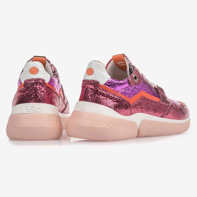 Roze leren sneaker met metallicprint