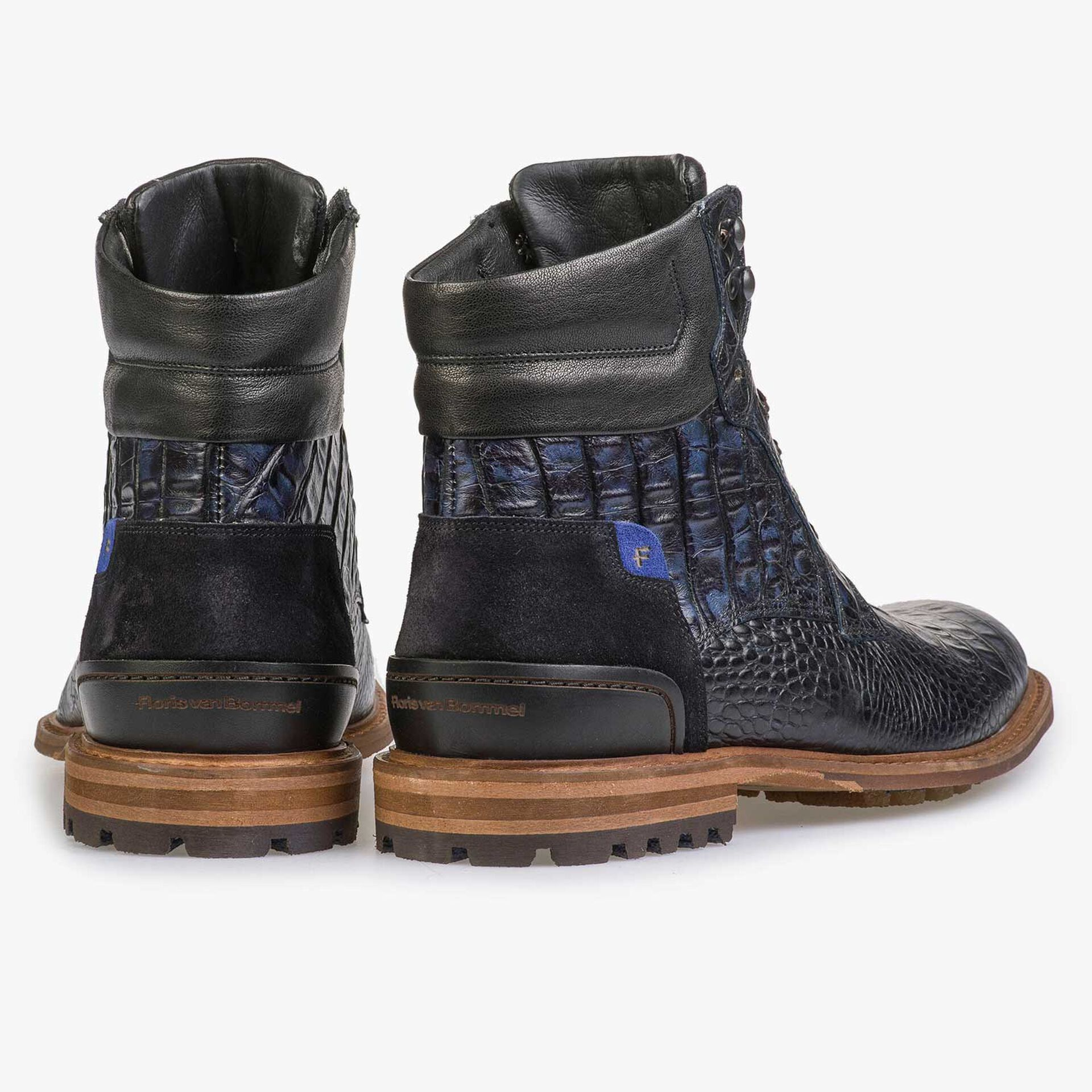 Blauwe kalfsleren crocoprint veterboot