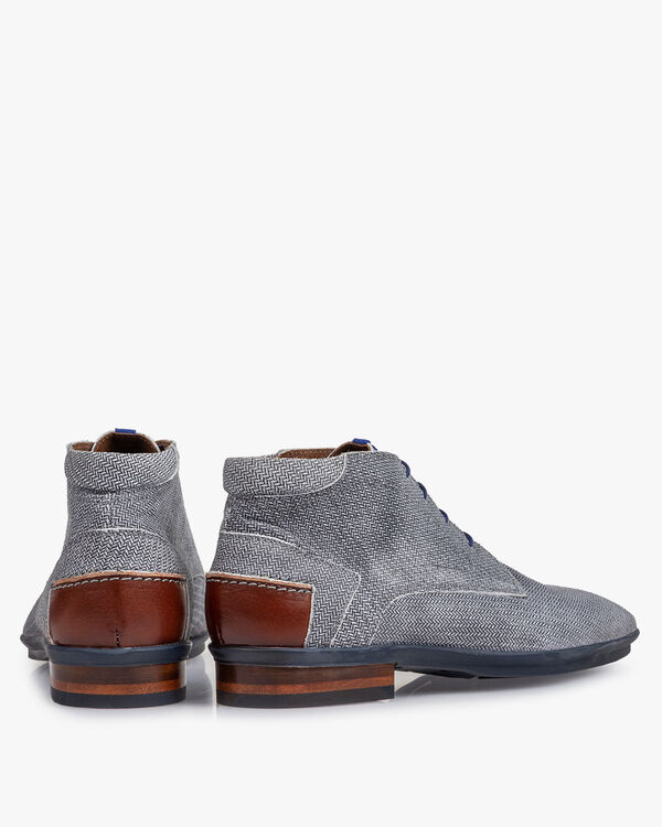 Boot geprint suède zwart/wit