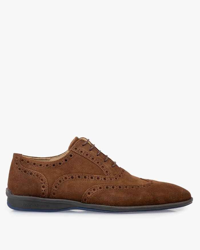 Lace shoe suede leather brown