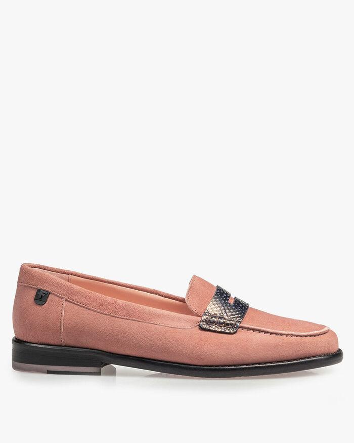 Roze suède loafer