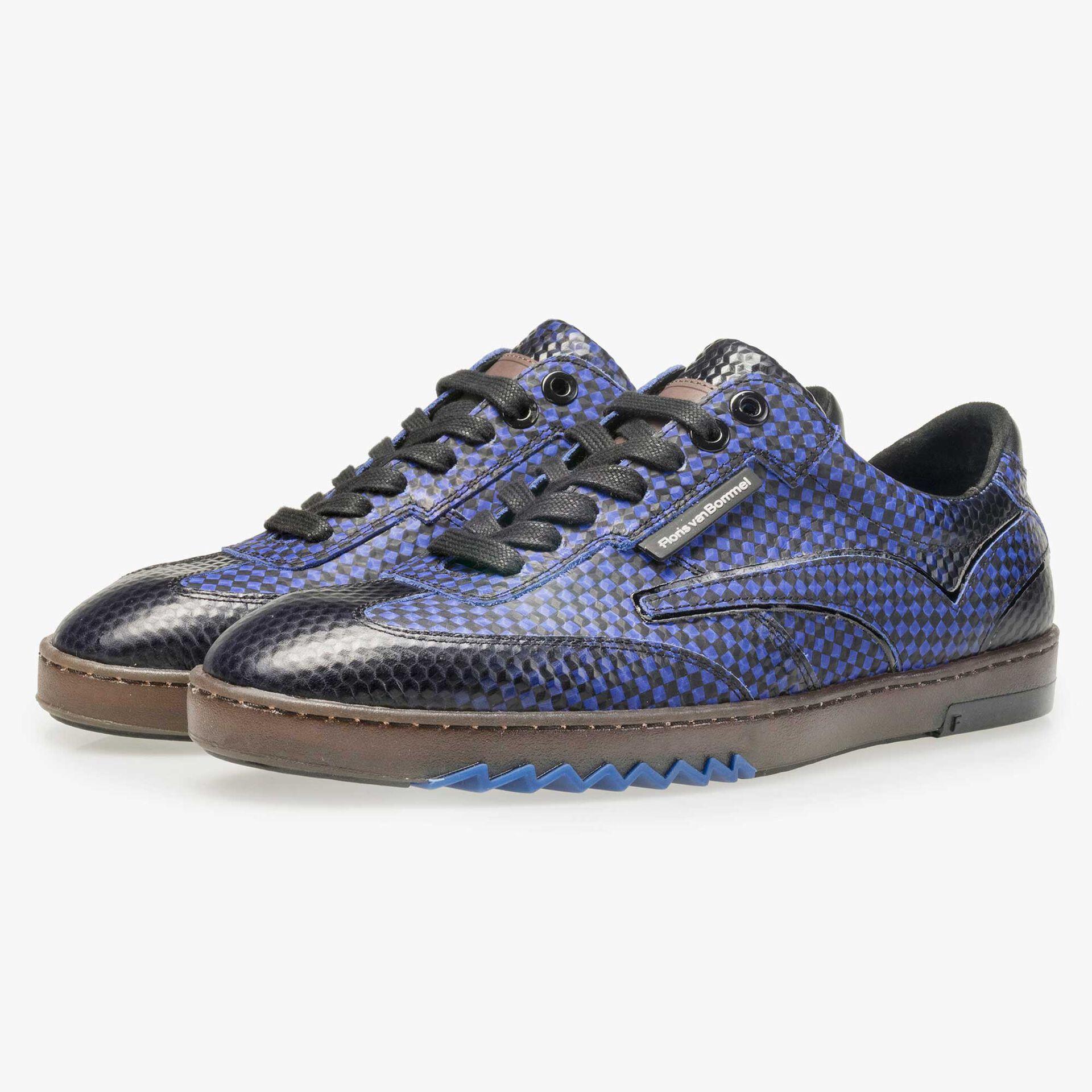 Floris van Bommel men's electric blue sneaker finished with a black print