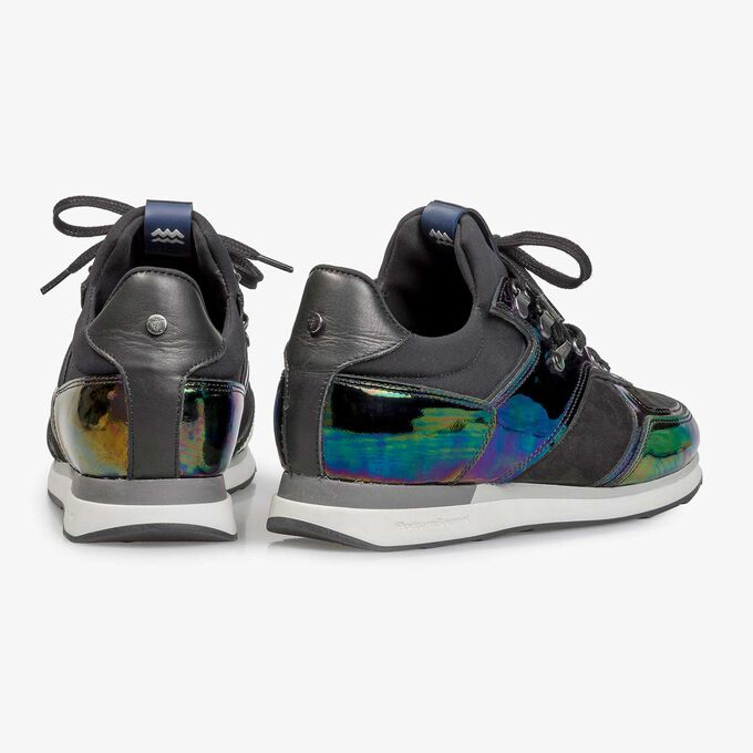 Multi-coloured patent leather sneaker