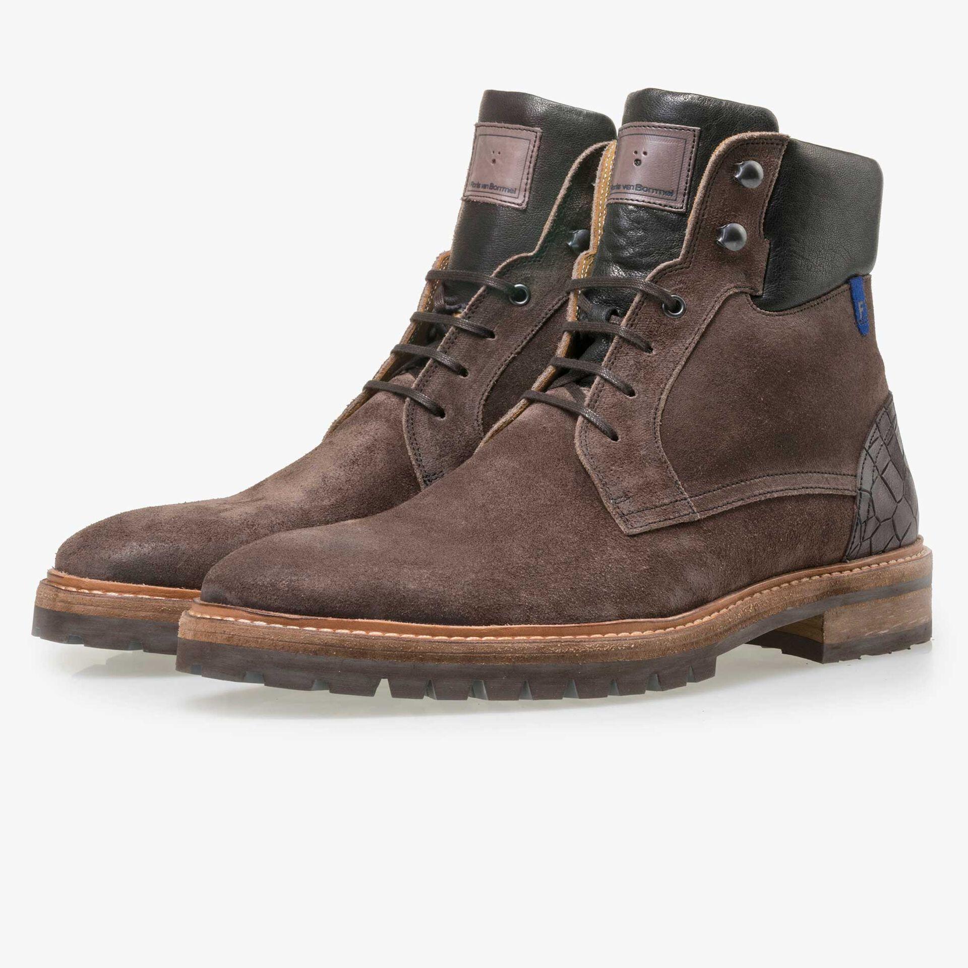 Floris van Bommel men's grey-brown suede leather lace boot