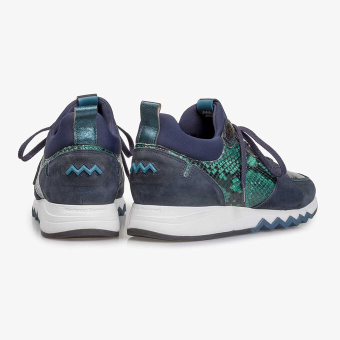 Donkerblauwe suède sneaker met print