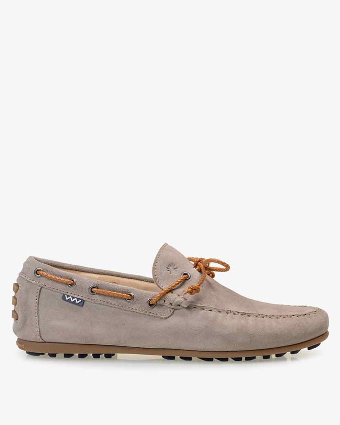 Moccasin suede leather sand-coloured