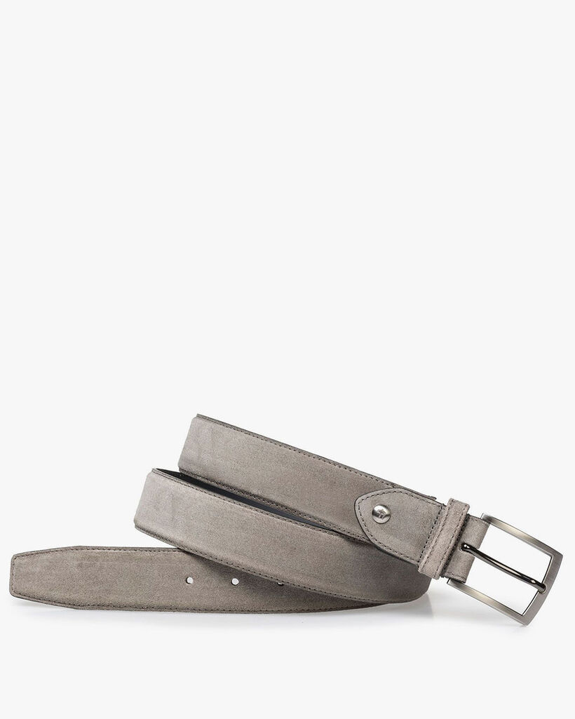 Lightly buffed, taupe-colored suede leather belt