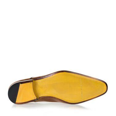 Leren veterschoen met gele zool