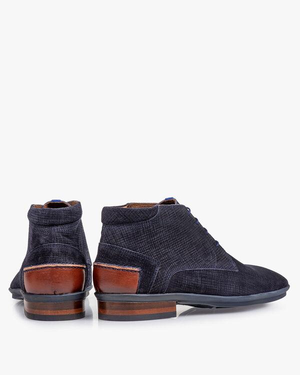 Boot geprint suède blauw
