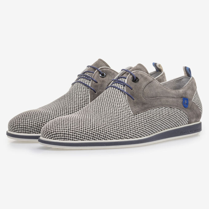 Grey suede leather lace shoe with print