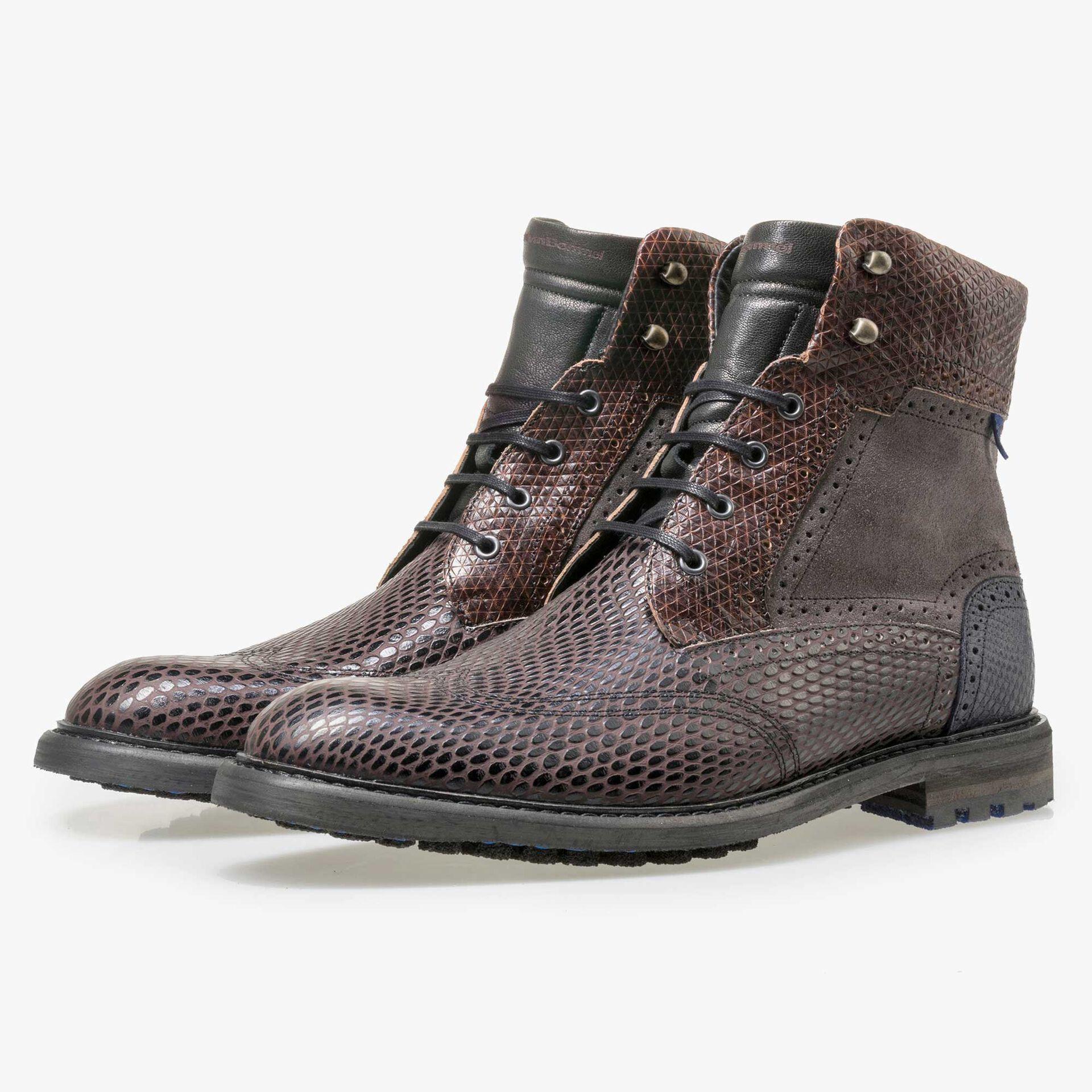 Floris van Bommel dark brown high leather lace boot