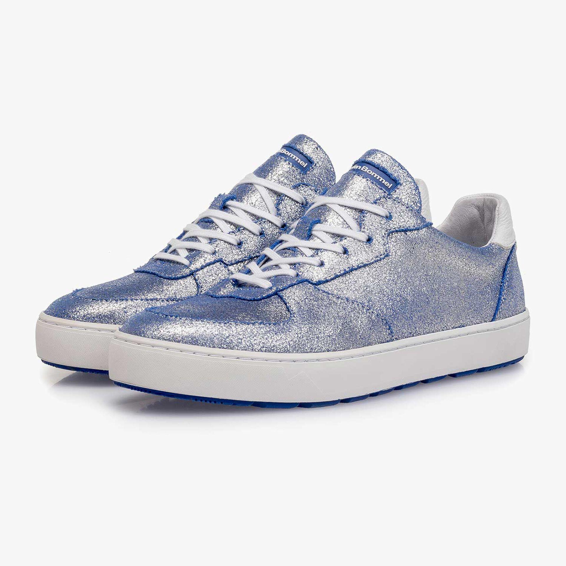 Zilveren metallic leren sneaker met changeant effect