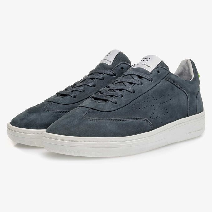 Blue nubuck leather sneaker