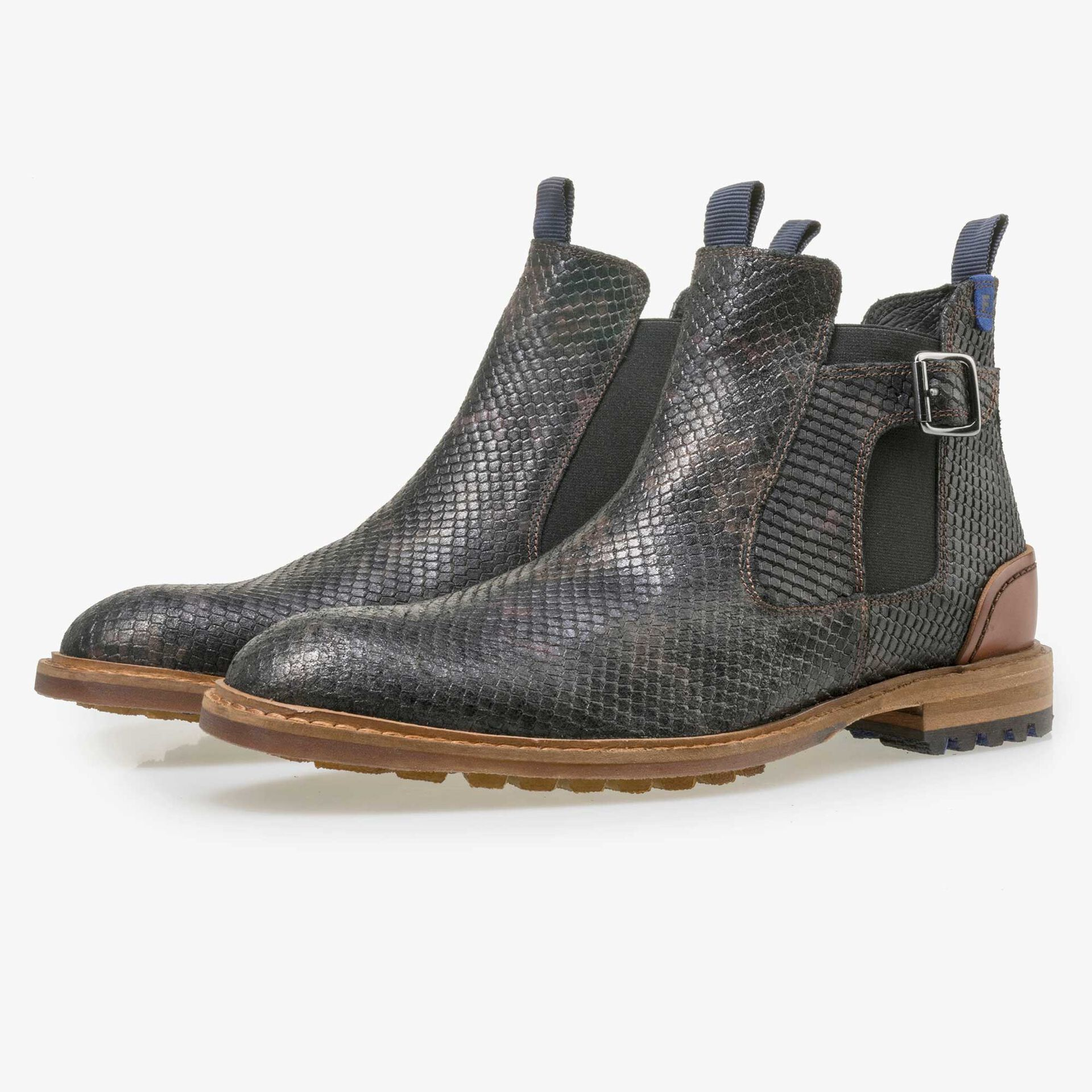 Floris van Bommel men's black leather Chelsea boot finished with a snake print