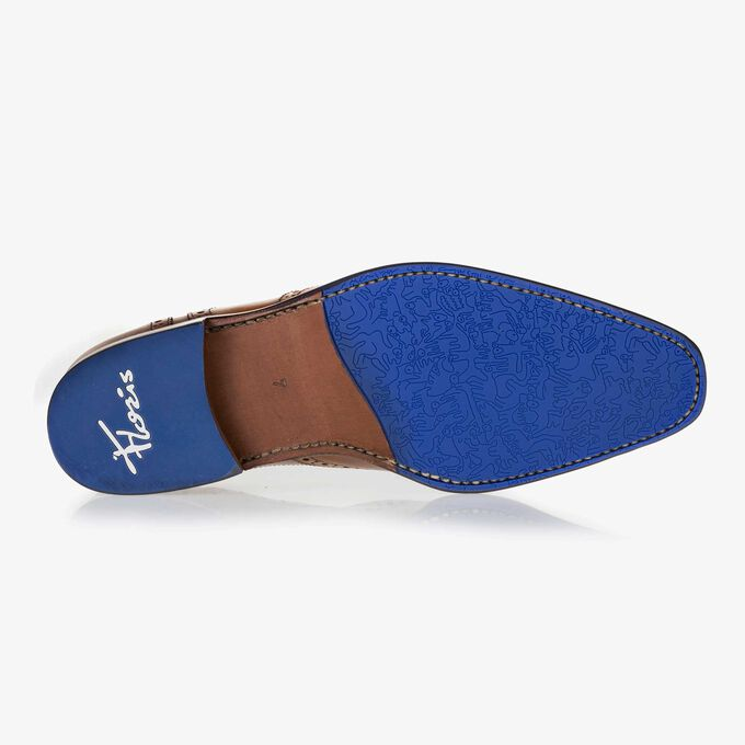Cognac-coloured brogue calf's leather lace shoe