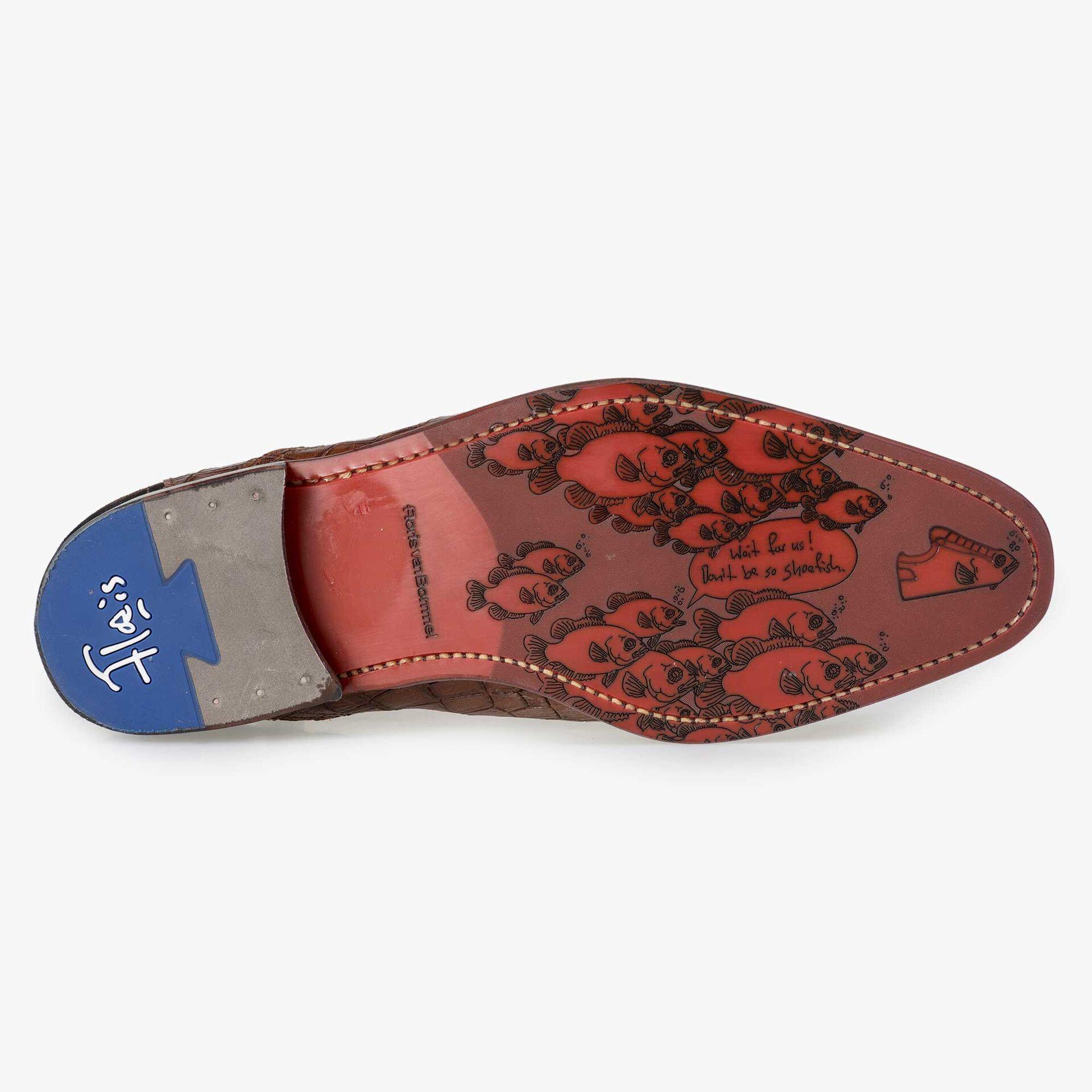Floris van Bommel men's brown Chelsea boot finished with a crocodile print