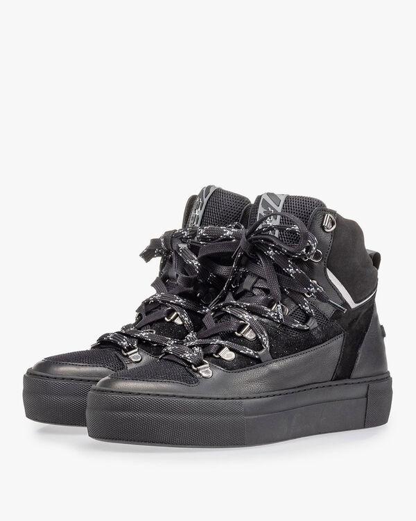 Halfhoge sneaker zwart leer