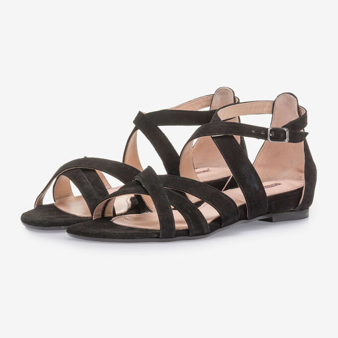 Black suede leather sandals